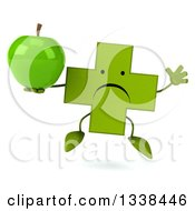 Clipart Of A 3d Unhappy Green Naturopathic Cross Character Jumping And Holding A Green Apple Royalty Free Illustration