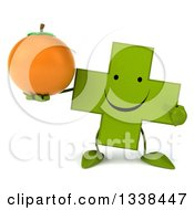 Clipart Of A 3d Happy Green Naturopathic Cross Character Holding And Pointing To A Navel Orange Royalty Free Illustration