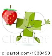 Clipart Of A 3d Happy Green Naturopathic Cross Character Jumping And Holding A Strawberry Royalty Free Illustration