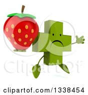 Clipart Of A 3d Unhappy Green Naturopathic Cross Character Facing Slightly Right Jumping And Holding A Strawberry Royalty Free Illustration