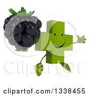 Clipart Of A 3d Happy Green Naturopathic Cross Character Facing Slightly Right Jumping And Holding A Blackberry Royalty Free Illustration