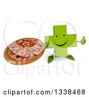 Clipart Of A 3d Happy Green Naturopathic Cross Character Holding Up A Thumb And A Pizza Royalty Free Illustration