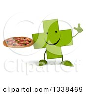 Clipart Of A 3d Happy Green Naturopathic Cross Character Holding Up A Finger And A Pizza Royalty Free Illustration