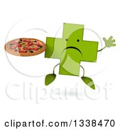 Clipart Of A 3d Unhappy Green Naturopathic Cross Character Jumping And Holding A Pizza Royalty Free Illustration