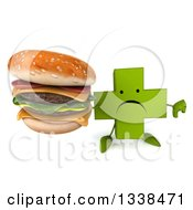 Clipart Of A 3d Unhappy Green Naturopathic Cross Character Holding Up A Thumb Down And A Double Cheeseburger Royalty Free Illustration