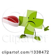 Clipart Of A 3d Unhappy Green Naturopathic Cross Character Shrugging And Holding A Beef Steak Royalty Free Illustration