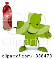 Clipart Of A 3d Happy Green Naturopathic Cross Character Holding And Pointing To A Soda Bottle Royalty Free Illustration