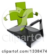 Clipart Of A 3d Happy Green Naturopathic Cross Character Smiling And Running On A Treadmill Royalty Free Illustration