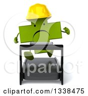 Clipart Of A 3d Unhappy Green Contractor Naturopathic Cross Character Running On A Treadmill Royalty Free Illustration