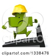Clipart Of A 3d Unhappy Green Contractor Naturopathic Cross Character Running On A Treadmill 3 Royalty Free Illustration