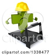 Clipart Of A 3d Unhappy Green Contractor Naturopathic Cross Character Running On A Treadmill 2 Royalty Free Illustration