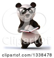 Clipart Of A 3d Bespectacled Business Panda Walking And Reading A Book Royalty Free Illustration