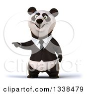 Clipart Of A 3d Business Panda Pointing To The Left Royalty Free Illustration