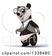 Clipart Of A 3d Bespectacled Business Panda Walking To The Left Royalty Free Illustration