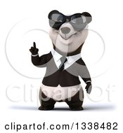 Clipart Of A 3d Business Panda Wearing Sunglasses And Holding Up A Finger Royalty Free Illustration