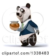 Clipart Of A 3d Business Panda In A Green Tie Walking To The Left With A Honey Jar Royalty Free Illustration