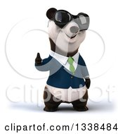 Clipart Of A 3d Business Panda In A Green Tie Wearing Sunglasses And Giving A Thumb Up Royalty Free Illustration