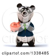 Clipart Of A 3d Bespectacled Business Panda In A Green Tie Holding A Piggy Bank Royalty Free Illustration