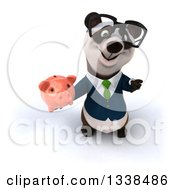 Clipart Of A 3d Bespectacled Business Panda In A Green Tie Holding Up A Thumb Down And A Piggy Bank Royalty Free Illustration