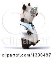 Clipart Of A 3d Bespectacled Doctor Or Veterinarian Panda Walking To The Right Royalty Free Illustration