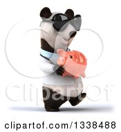 Clipart Of A 3d Happy Doctor Or Veterinarian Panda Wearing Sunglasses Walking Slightly To The Right With A Piggy Bank Royalty Free Illustration