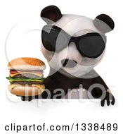 Clipart Of A 3d Panda Wearing Sunglasses Holding A Double Cheeseburger And Looking Down Over A Sign Royalty Free Illustration