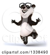 Clipart Of A 3d Happy Bespectacled Panda Jumping Royalty Free Illustration