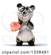 Clipart Of A 3d Happy Bespectacled Panda Holding And Pointing To A Piggy Bank Royalty Free Illustration