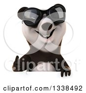 Clipart Of A 3d Panda Wearing Sunglasses And Giving A Thumb Up Over A Sign Royalty Free Illustration