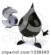 3d Oil Drop Character Shrugging And Holding A Dollar Currency Symbol