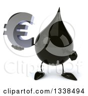 3d Oil Drop Character Holding And Pointing To A Euro Currency Symbol