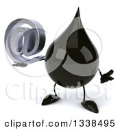3d Oil Drop Character Shrugging And Holding An Email Arobase At Symbol