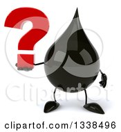 3d Oil Drop Character Holding A Question Mark