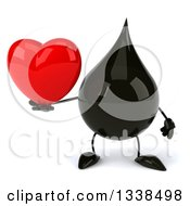 Clipart Of A 3d Oil Drop Character Holding A Heart Royalty Free Illustration
