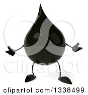 Clipart Of A 3d Oil Drop Character Shrugging Royalty Free Illustration