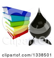 Clipart Of A 3d Oil Drop Character Holding Up A Stack Of Books Royalty Free Illustration