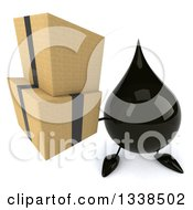 Clipart Of A 3d Oil Drop Character Holding Up Boxes Royalty Free Illustration