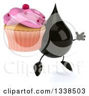 Clipart Of A 3d Oil Drop Character Holding A Pink Frosted Cupcake Facing Slightly Right And Jumping Royalty Free Illustration by Julos