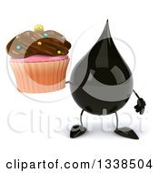 Clipart Of A 3d Oil Drop Character Holding A Chocolate Frosted Cupcake Royalty Free Illustration by Julos