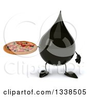 Clipart Of A 3d Oil Drop Character Holding A Pizza Royalty Free Illustration by Julos