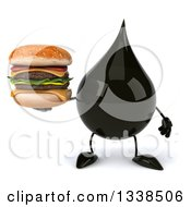 Clipart Of A 3d Oil Drop Character Holding A Double Cheeseburger Royalty Free Illustration by Julos
