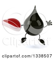 Clipart Of A 3d Oil Drop Character Jumping And Holding A Beef Steak Royalty Free Illustration by Julos