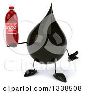 Clipart Of A 3d Oil Drop Character Shrugging And Holding A Soda Bottle Royalty Free Illustration by Julos