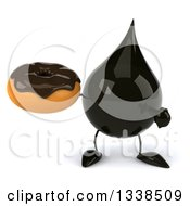 Clipart Of A 3d Oil Drop Character Holding And Pointing To A Chocolate Glazed Donut Royalty Free Illustration by Julos