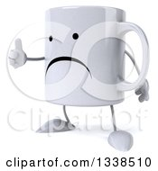 Clipart Of A 3d Unhappy Coffee Mug Character Facing Left And Giving A Thumb Up Royalty Free Illustration