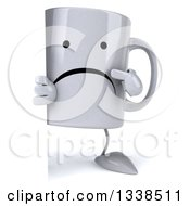 Clipart Of A 3d Unhappy Coffee Mug Character Pointing Around A Sign Royalty Free Illustration