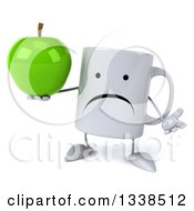 Clipart Of A 3d Unhappy Coffee Mug Character Shrugging And Holding A Green Apple Royalty Free Illustration