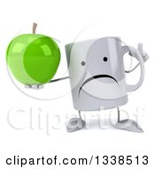 Clipart Of A 3d Unhappy Coffee Mug Character Holding Up A Finger And A Green Apple Royalty Free Illustration