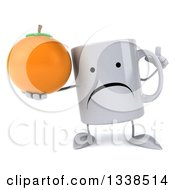 Clipart Of A 3d Unhappy Coffee Mug Character Holding Up A Finger And A Navel Orange Royalty Free Illustration