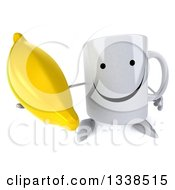 Clipart Of A 3d Happy Coffee Mug Character Holding Up A Banana Royalty Free Illustration